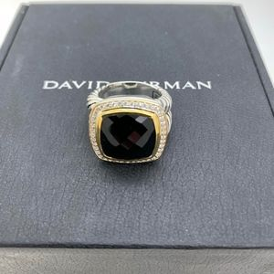 David Yurman 925 18K Diamonds14mm B.Onyx Ring S7